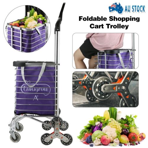 Foldable Shopping Cart Trolley Aluminium Waterproof Grocery Storage Basket Bag