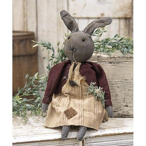 New Primitive Easter Grungy AGED BLACK BUNNY RABBIT DOLL Figure 19""