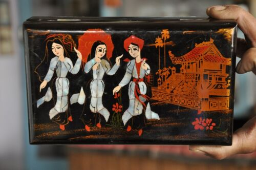 Old Japanes Handcrafted Inlay & Lacquer Work Vanity Box With Mirror
