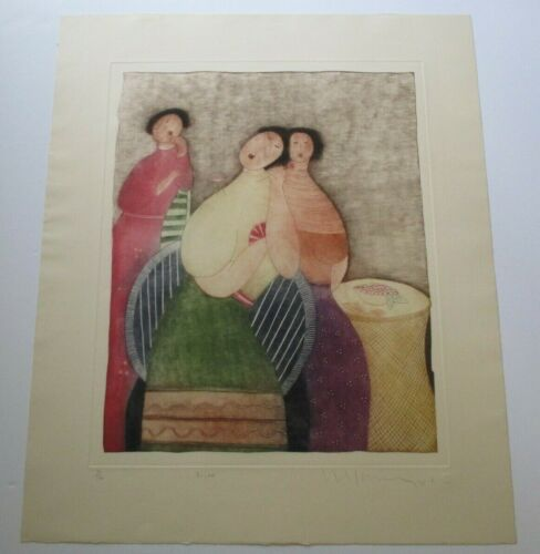 LARGE ETCHING AQUATINT Eng Tay Malaysia MODERNIST VINTAGE HAND SIGNED RARE