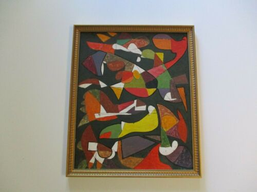 MARTIN ROSENTHAL OIL PAINTING CUBIST CUBISM 1940'S MODERNISM COLORFUL ABSTRACT
