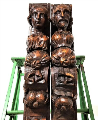 Huge gothic caryatid wood carving corbel Antique french architectural salvage