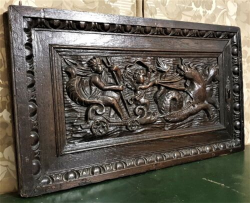 Neptune chariot angel wood carving panel Antique french architectural salvage