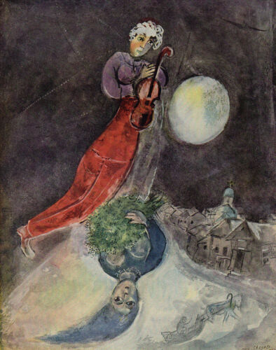 """Limited 1947 Marc Chagall Color Lithograph """"Winter's Lovers"""" Framed Signed COA"""