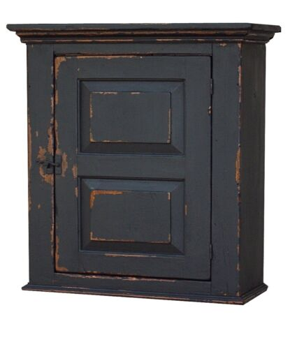EARLY OLD AMERICAN WALL CABINET PRIMITIVE PAINTED COUNTRY FARMHOUSE CUPBOARD