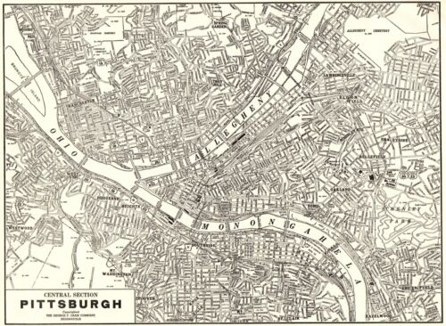 1938 Antique PITTSBURGH Pennsylvania Street Map City Map of Pittsburgh 8891