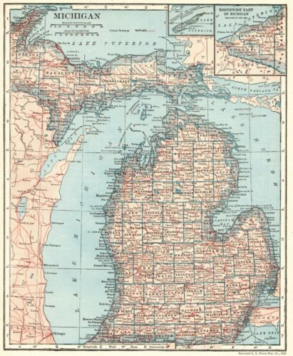 1925 Antique MICHIGAN State Map Gallery Wall Art Vintage Map of Michigan 8898