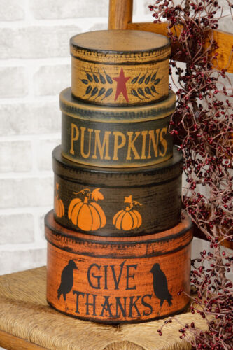 """New Primitive Folk Art FALL GIVE THANKS PUMPKIN CROW STACKING BOXES 16"""" Tall"""
