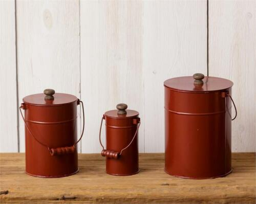 New Primitive Farmhouse Set 3 RED METAL CANISTER Tin Canisters Bucket Pail Lids