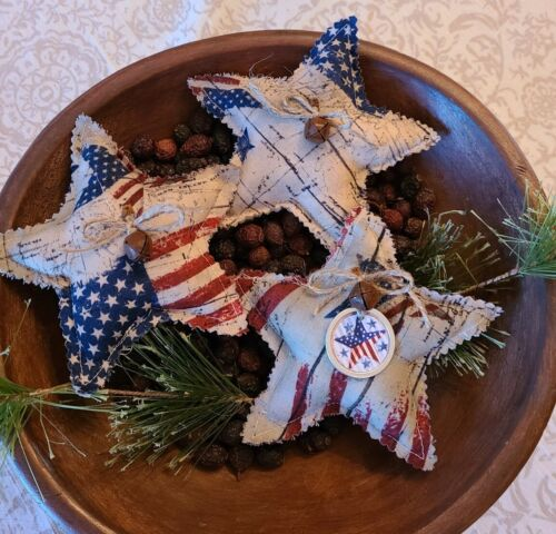3 Primitive Farmhouse July 4 Red White Blue Patriotic STARS Bowl Fillers Ornies