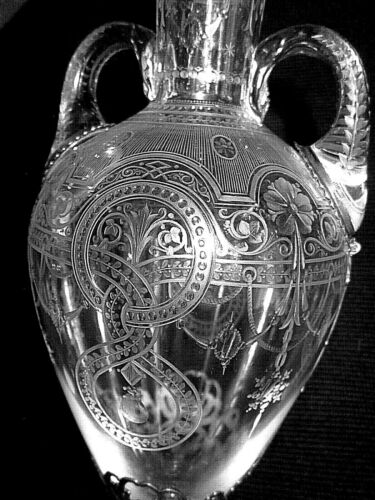 ANTIQUE SIGNED TIFFANY DOUBLE-HANDLED CRYSTAL ETCHED .925 STERLING SILVER VASE