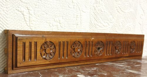 Solid rosette flower wood carving pediment Antique french architectural salvage