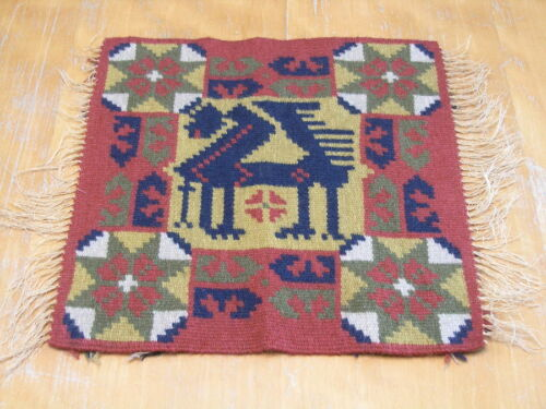 """Antique Swedish Rolakan Pictorial Tapestry Crowned Lion Wool on Linen 12x13 """""""