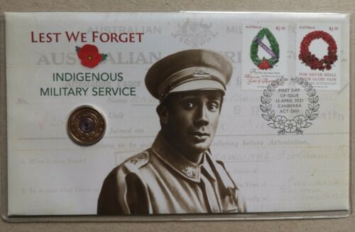 2021 $2 Indigenous Military Service PNC 7500 only coin & Stamp cover