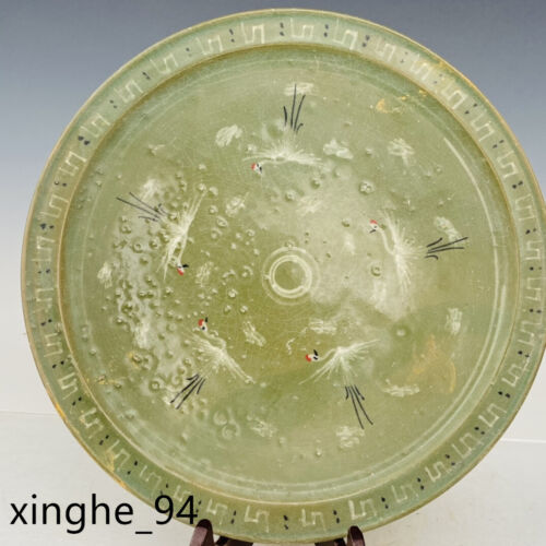 "12.2""China Song dynasty Porcelain Green glaze Ice crack Red-crowned crane Plate"