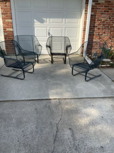4 1960's Russell Woodard Sculptura Springer Cantilever Base Lounge Patio Chair's