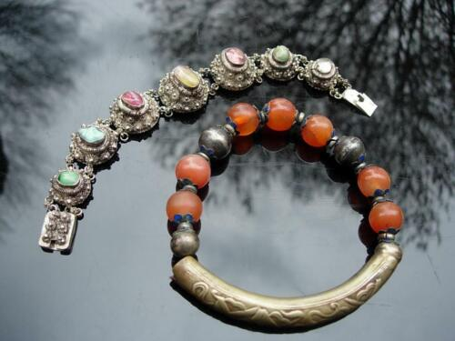 TWO ANTIQUE CHINESE SILVER BRACELETS W JADE, TOURMALINE, TURQUOISE & CARNELIAN