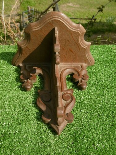 ANTIQUE 19thc GOTHIC WOODEN OAK CARVED SHELF