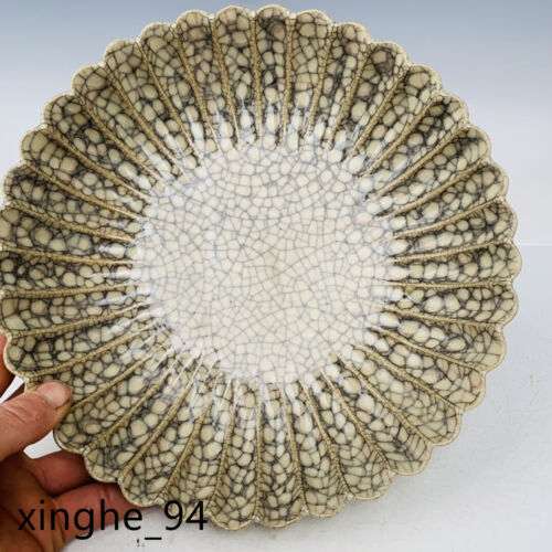 "10.2""Song dynasty Porcelain ge kiln museum mark Ice crack four foot Brush Washer"