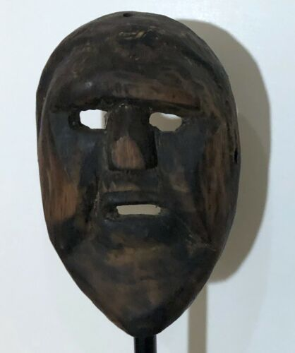 RARE 19th CENTURY TIBET ETHNOGRAPHIC ANCESTOR CARVED WOOD MASK (#4) - ON STAND