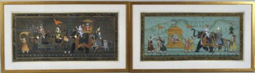 PAIR OF LARGE ANTIQUE FRAMED PAINTINGS FROM INDIA - ROYAL PROCESSIONAL SCENES