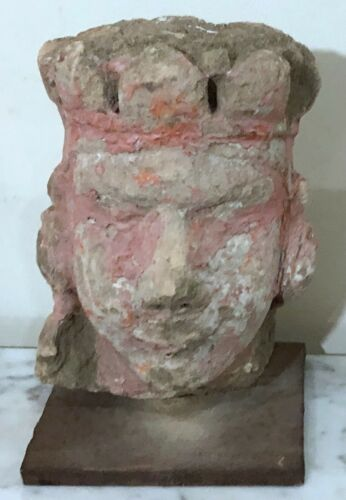 INDIAN DEITY 17th CENTURY PAINTED CARVED STONE HINDU TEMPLE FRAGMENT STELE