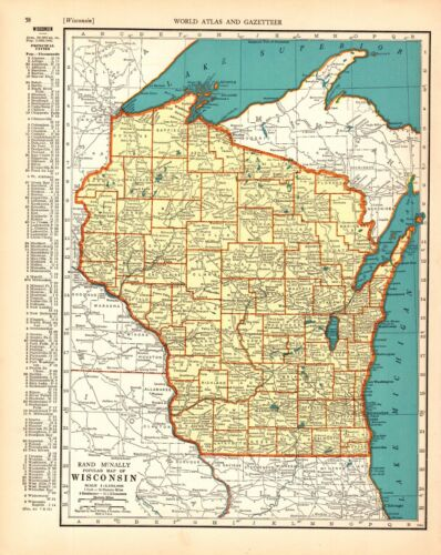 1938 Antique WISCONSIN State Map Vintage Map of Wisconsin Gallery Wall Art 8923