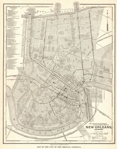1928 Antique NEW ORLEANS Louisiana City Map Street Map of New Orleans 8931
