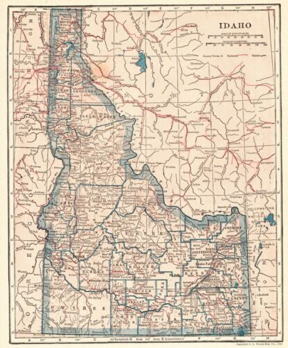 1925 Antique IDAHO Map Vintage State Map of Idaho Wall Art Birthday Gift 8935