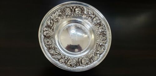 "5 1/2"" STERLING BOWL STIEFF ""ROSE"" CRISP REPOUSSE BALTIMORE c.1950"