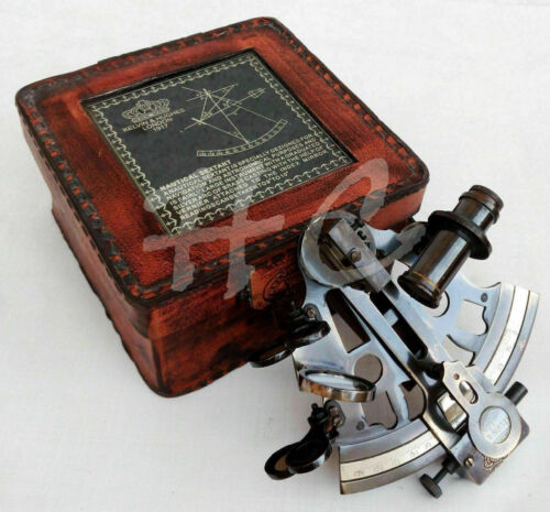 Brass Antique Finish Marine Victorian Travelling Sextant Glass Top Leather Case