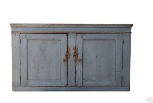 PRIMITIVE RUSTIC WALL CUPBOARD CABINET PAINTED COUNTRY FARMHOUSE FURNITURE PINE