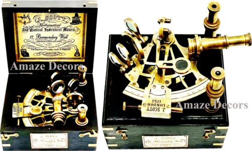 J. Scott Antique Brass Ship Sextant With Two Extra Telescope in Hardwood Box