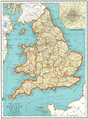 1942 Antique MAP of ENGLAND & WALES Map Vintage England Atlas Map 8955