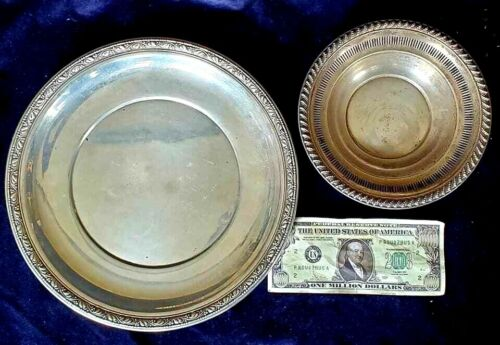 335 Grams Total Antique Sterling Silver Rogers Bowl AND Wallace Plate VGC