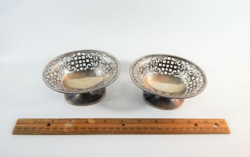 Pair Antique English  Sterling Silver  Pierced Dishes Chaplin & Sons London 1893