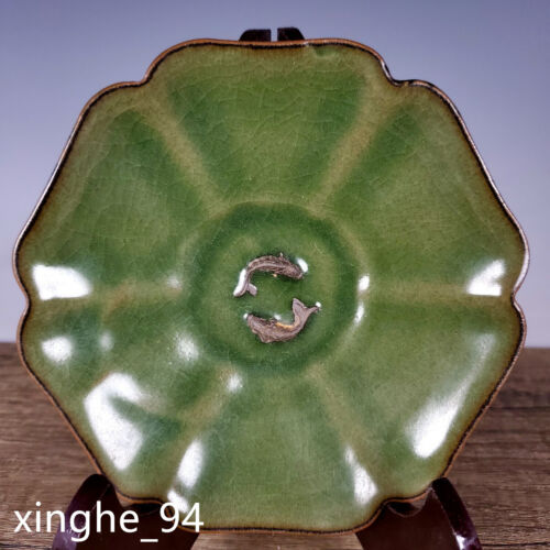 """6.1"""" Old Song dynasty Porcelain longquan kiln double fish six edge Brush Washer"""