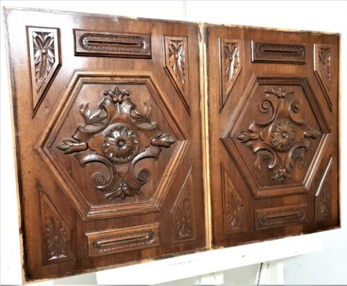 Pair rosette flower wood carving panel Antique french architectural salvage