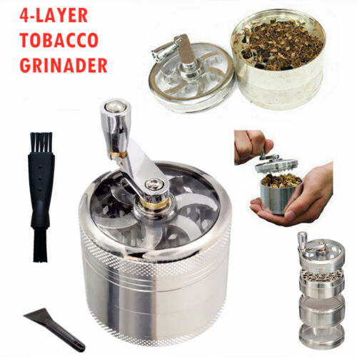 61MM 4-Layer Zinc Alloy Hand Muller Smoke Crusher Spice Herb Tobacco Grinder NEW