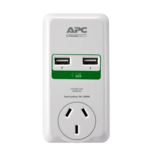 APC SurgeArrest Essential 1 Outlet Surge Protector Wall Mount Power board USBx2