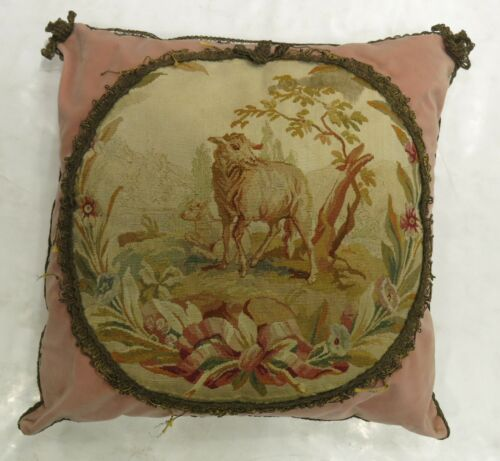 Antique French Aubusson 18th Century Pillow Size 2'x2'