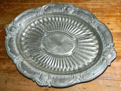 VINTAGE The House of Ranleigh Silver Plated Serving Tray - Divided Glass Insert
