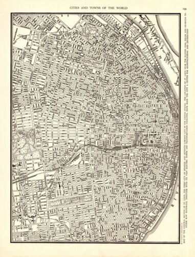 1938 ST LOUIS City Map Antique Street Map of St Louis Gallery Wall Art 9079