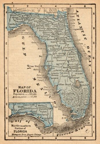 1888 Antique FLORIDA State Map MINIATURE Vintage Map of Florida Wall Art 9109