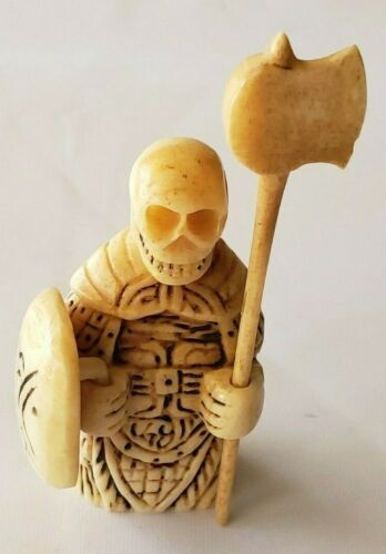 Skeleton Death Soldier  2 In Netsuke  Signed   Removable Ax Shield  1842