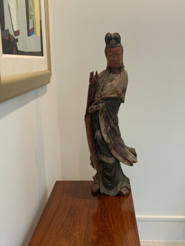 CHINESE LARGE ANTIQUE WOOD CARVED GUANYIN, KWAN YIN, FIGURE, STATUE
