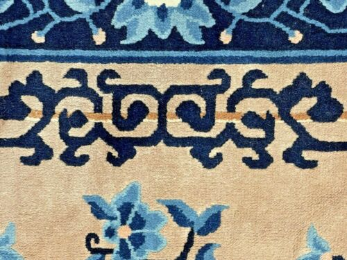 Auth: 70's Ming Chinese Peking Rug    Lustrous Silky Wool  Tan & Blue 6x9     NR