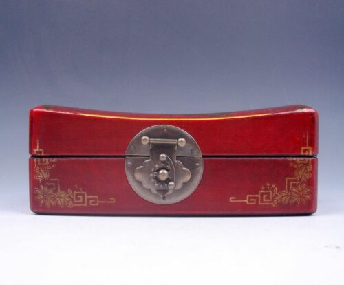 Red Finish Leather Butterfly Flowers Painted Wooden Jewelry Box w/ Brass Lock