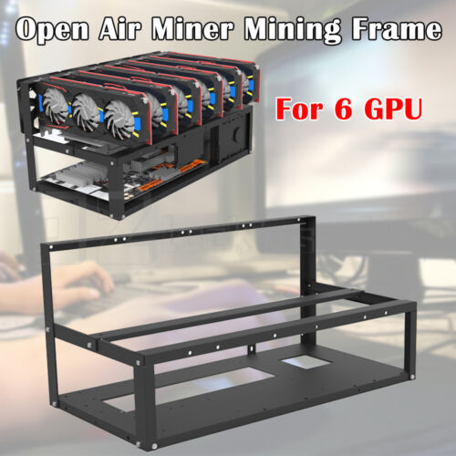 Open Air Miner Mining Frame Rig Case Steel Up to 6 GPU for Coin Crypto Currency