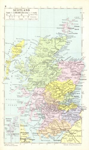 Vintage SCOTLAND Map Collectible Map of Scotland Gallery Wall Art 9237